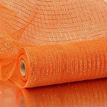 Orange Deco Mesh W/Metallic Strp Colored - 21 X 10 Yards - Polypropylene / Cellophane - Wraps by Paper Mart