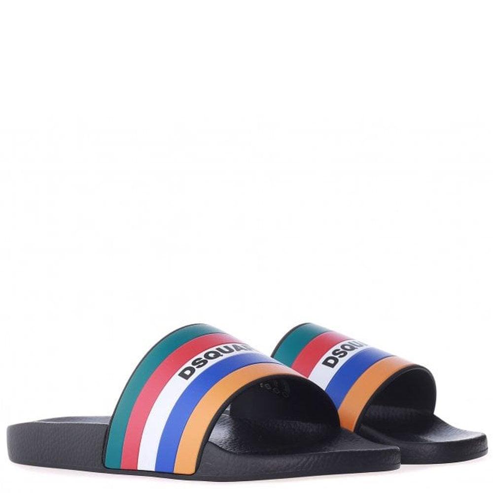Dsquared2 DSqured2 Multi-Coloured Striped Logo Sliders Colour: MULTI COLOURED, Size: 9