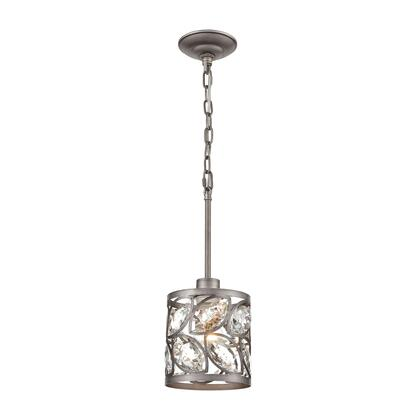 12245/1 Crisanta 1-Light Mini Pendant in Weathered Zinc with Clear