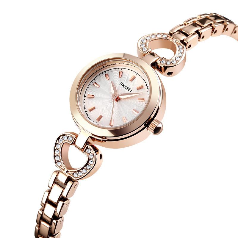 SKMEI 1408 Luxury Crystal Stainless Steel Women Quartz Watch