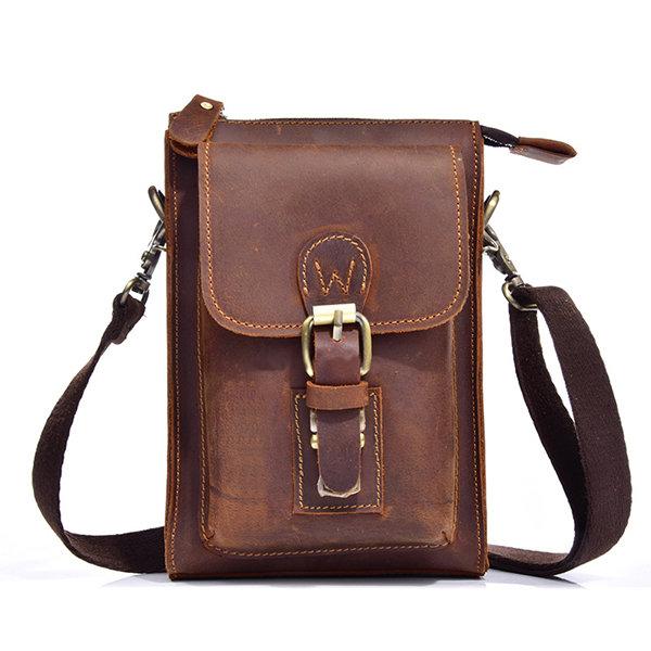 Men Genuine Leather One-Shoulder Bag Vintage Causal Capable Belt Wear Crossbody Bag