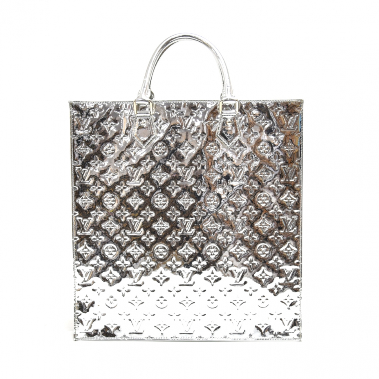 Louis Vuitton - Sac a main Plat pour femme en cuir - argente