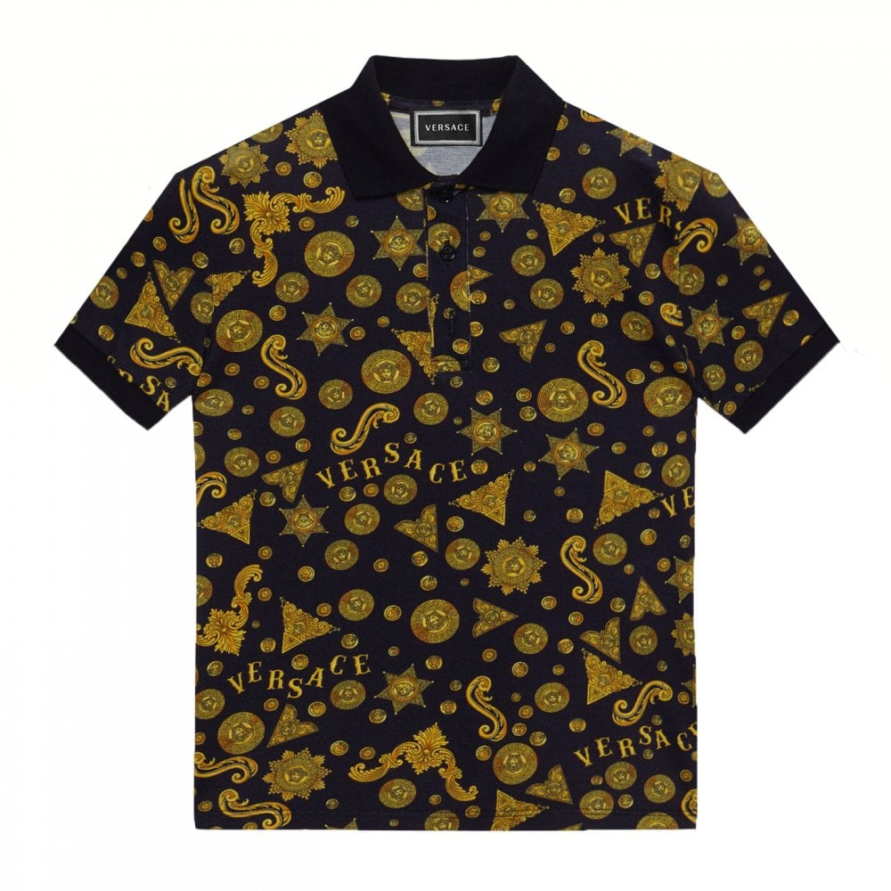 Versace Boys Navy Gold Cotton Polo Colour: NAVY, Size: 10 YEARS
