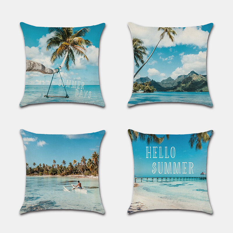 Beach PillowcaseSky And White Cloud Coconut Tree Beach Linen Digital Printing Without Core