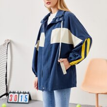 Letter Graphic Striped Side Colorblock Hooded Coat
