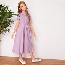 Girls Peter-pan Collar Button Front Dress