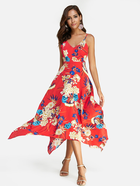 Yoins Red Random Floral Print Backless V-neck Irregular Hem Spaghetti Strap Dress