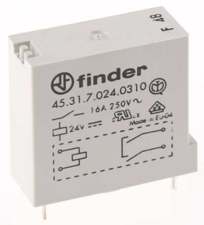 Finder , 24V dc Coil Non-Latching Relay SPNO, 30A Switching Current PCB Mount Single Pole