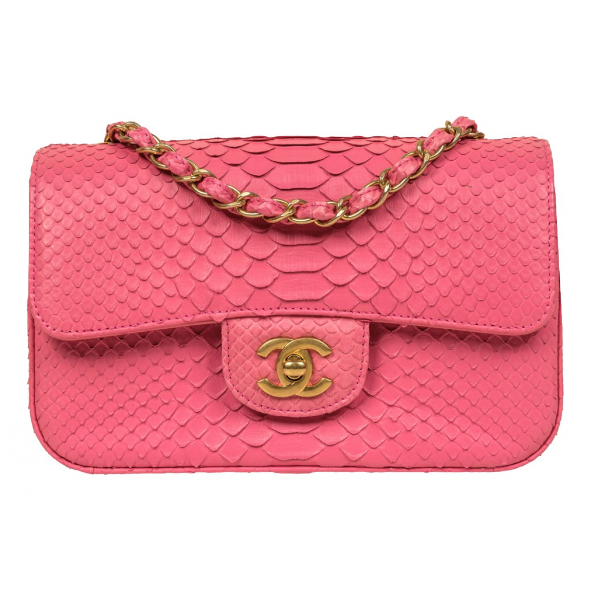 Chanel Timeless/Classique Pink Python handbag for Women N