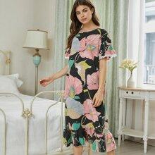 Lace Trim Floral Print Ruffle Hem Night Dress