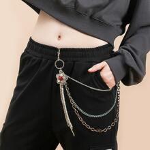 Faux Pearl & Rhinestone Decor Layered Pant Chain