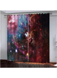 3D Fantastic and Shining Stars Galaxy Printed Decorative Thick Polyester Blackout Custom Scenery Curtain  Environmentally Friendly Printing and Dyeing