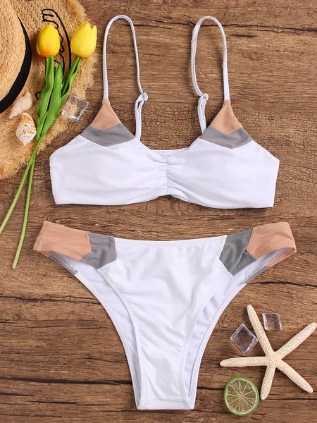 Yoins White Padded Design Spaghetti Bikini Sets