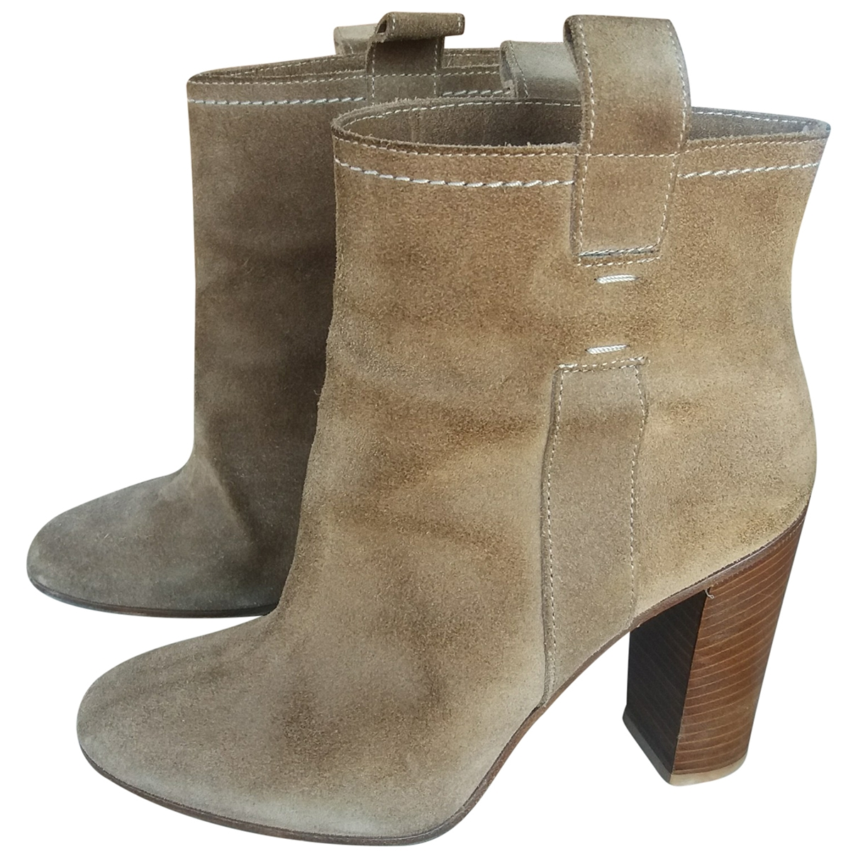 Non Signé / Unsigned \N Beige Suede Ankle boots for Women 37 EU