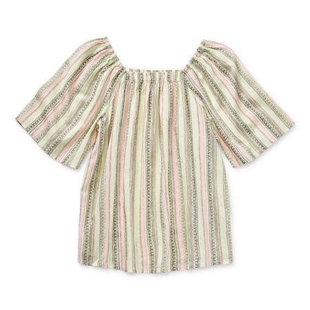 Arizona Little & Big Girls Square Neck Short Sleeve Blouse, X-small (6-6x) , White