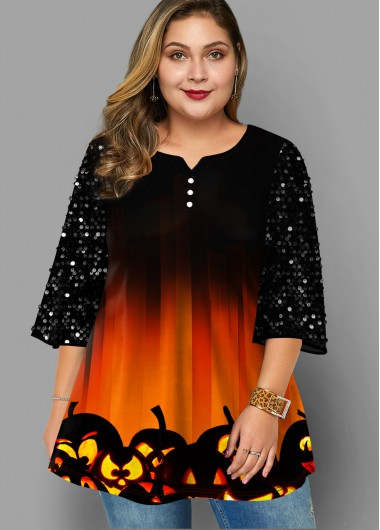 Halloween Print Sequin Sleeve Plus Size T Shirt - 3X