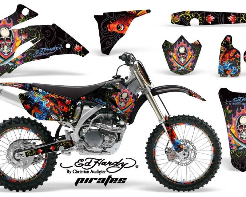 AMR Racing Graphics MX-NP-YAM-YZ250F-YZ450F-06-09-EDHP K Kit Decal Wrap + # Plates For Yamaha YZ250F YZ450F 2006-2009áEDHP BLACK
