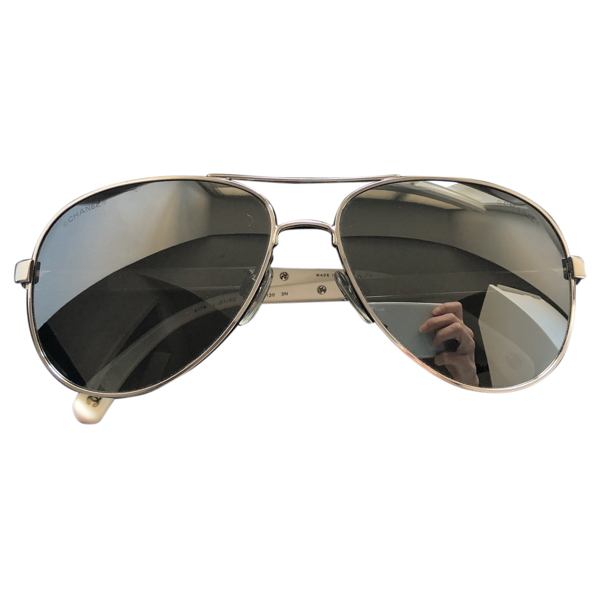 Chanel N Silver Metal Sunglasses for Women N