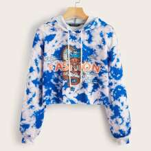Chinese Dragon Graphic and Letter Drop Shoulder Tie Dye Pullover