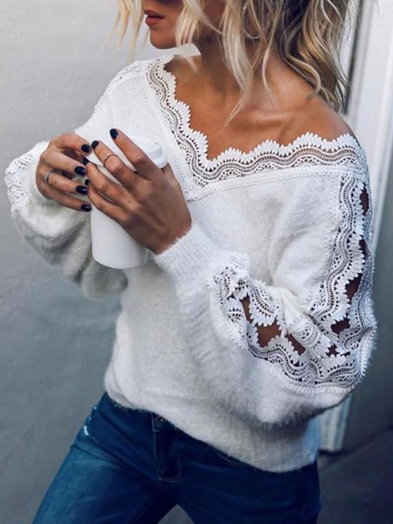 Ericdress Lantern Sleeve Patchwork Regular Loose Sweater