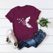 Feather & Butterfly Print Tee