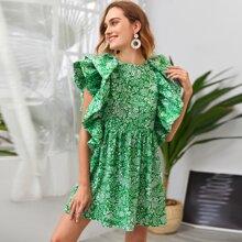 Kleid mit Pflanzen Muster und Raffung