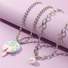 2 Stuecke Kleinkind Maedchen Halskette mit Kunstperlen Dekor