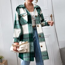 Drop Shoulder Flap Pocket Curved Hem Plaid Coat