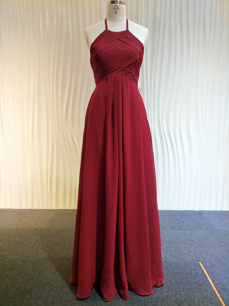 Ericdress Pleats Halter A-Line Floor-Length Bridesmaid Dress