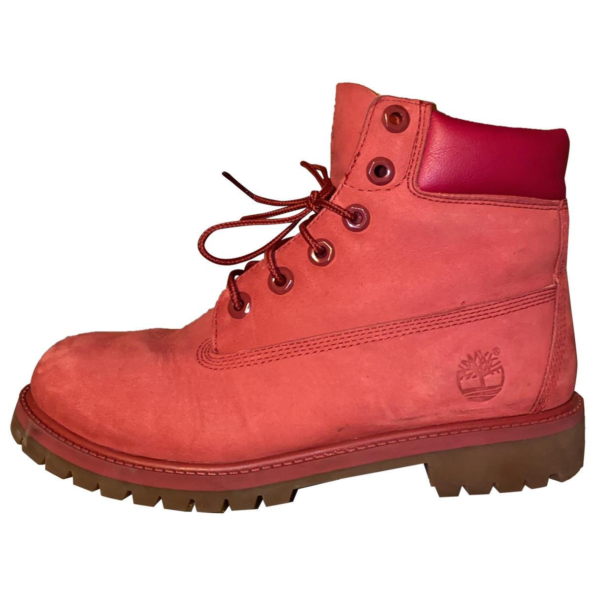 Timberland - Boots   pour femme en cuir - rouge