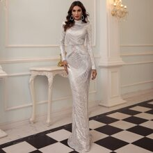 Mock Neck Mermaid Hem Sequin Prom Dress