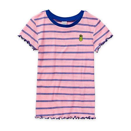 Arizona Little & Big Girls Round Neck Short Sleeve Graphic T-Shirt, Large (14) , Pink