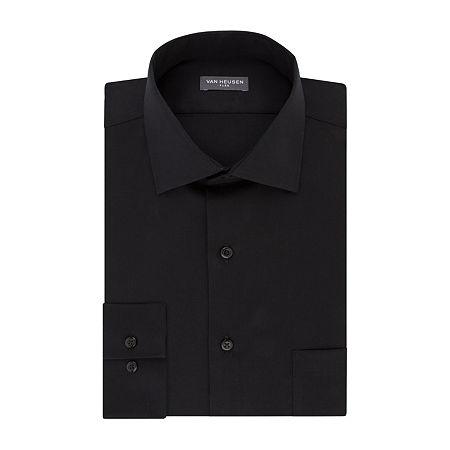 Van Heusen Flex Collar Dress Long Sleeve Shirt, 16 34-35, Black