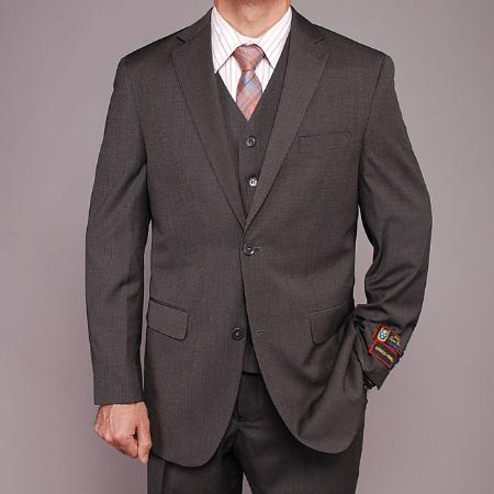 Mens 2 Button Vested 3 Piece Fiorelli Suit Gray Teakweave Cheap