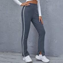 Texturierte Hose mit elastischer Taille und seitlichem Streifen