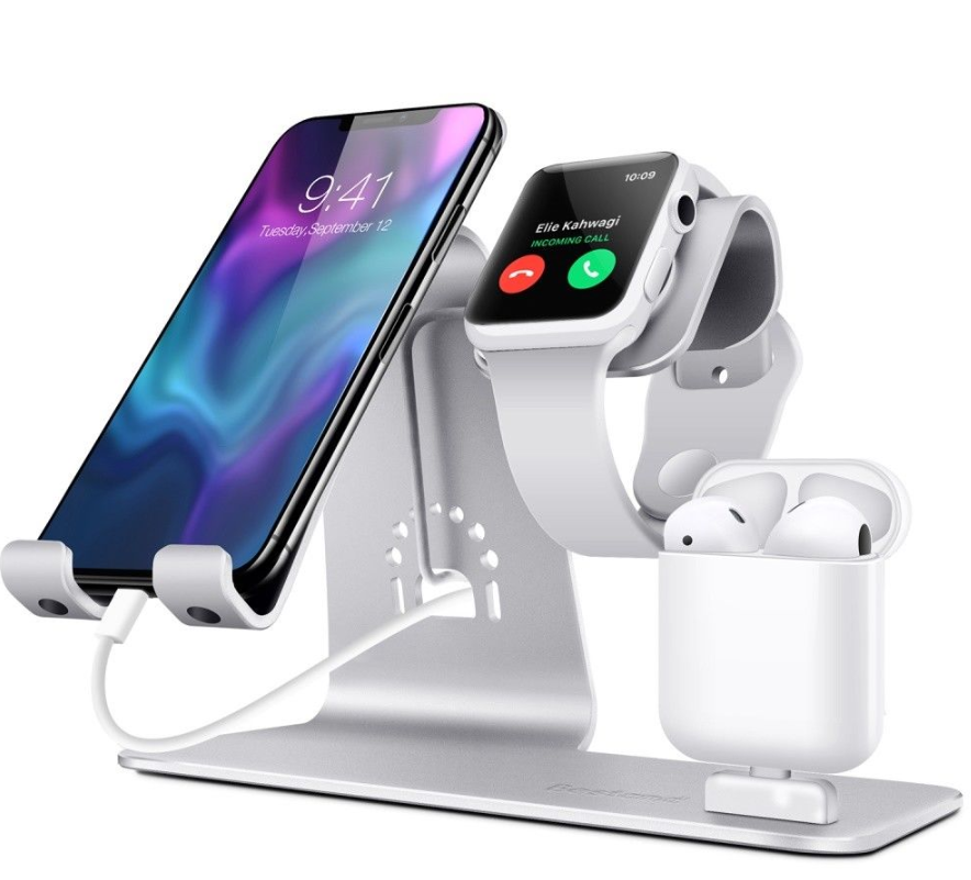 3 in 1 Multifunction Aluminum Alloy Phone Charger Dock Stand Holder Desktop Mount for iPhone iWatch for Airpods