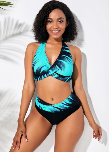 Sexy Bikinis Cyan Halter Neck Printed Bikini Set - L