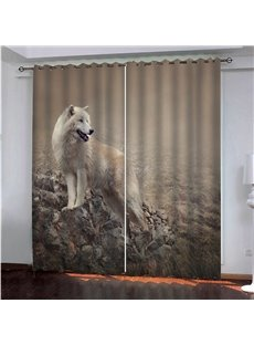 A Wolf On the Rock 3D Painted Decorative Blackout Custom Animal Print Curtains