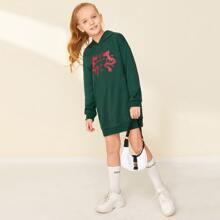 Girls Chinese Letter and Dragon Print Sweatshirt Dress