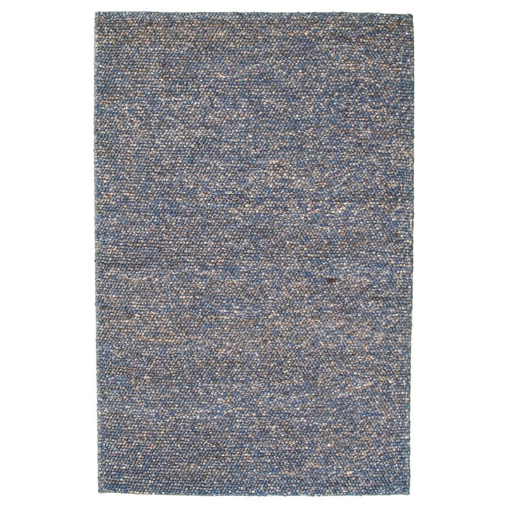 ECARPETGALLERY  Braid weave Sienna Blue Wool Rug - 53 x 82 (Dark Blue - 53 x 82)