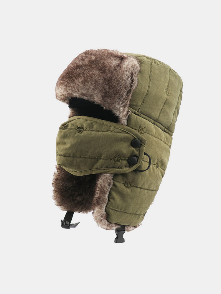 Men Cold-proof Winter Trapper Hat Thick Winter Hat Ear Protection With Mask Trapper Hat