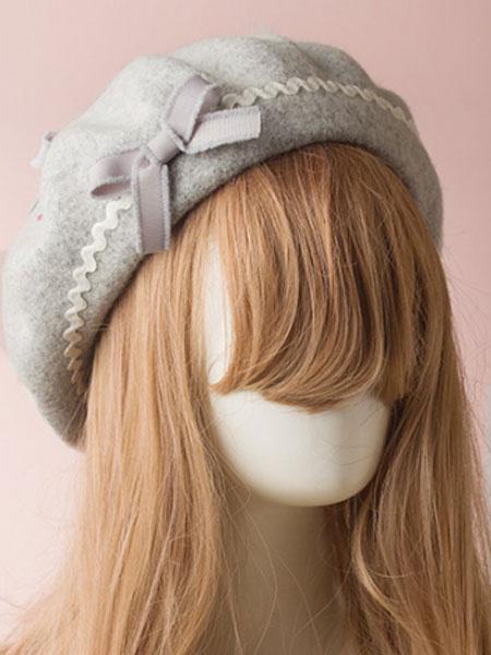 Milanoo Sweet Lolita Hat Wool Bow Pom Pom Lolita Beret