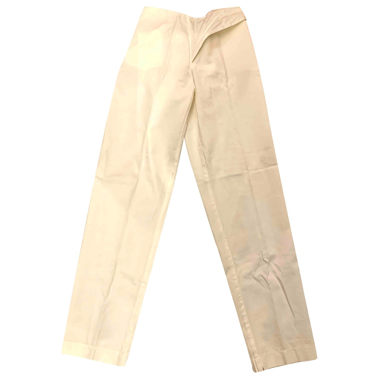 Sport Max \N White Cotton Trousers for Women S International