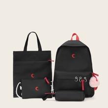 Eyelet Detail Pom Pom Decor Backpack 4pcs