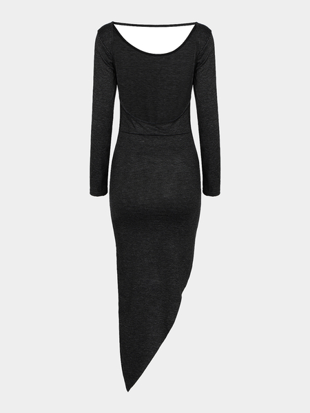 Yoins Black Asymmetric Party Dress With Cut Out Back