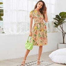 Tie Neck Belted Floral Print Dress