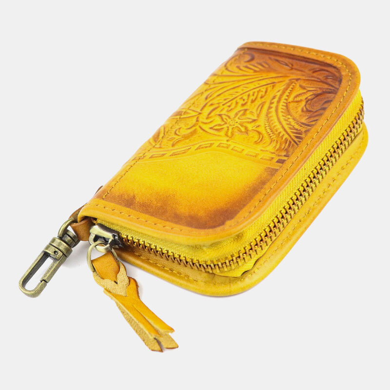 Men Genuine Leather 2 Card Slots Wallet Key Case
