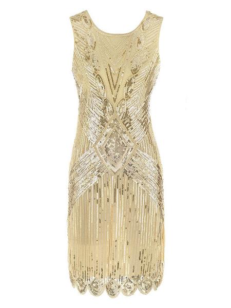 Milanoo Disfraz Halloween Flapper Dress Gran Gatsby 1920s Disfraz Vintage Mujeres Lentejuelas Vestidos de Halloween 2020 Carnaval Halloween