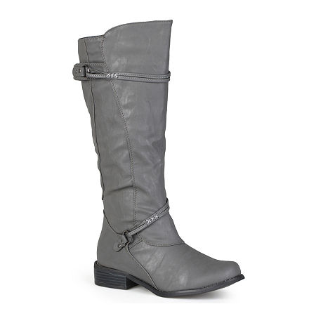 Journee Collection Womens Harley Extra Wide Calf Riding Boots, 9 1/2 Medium, Gray