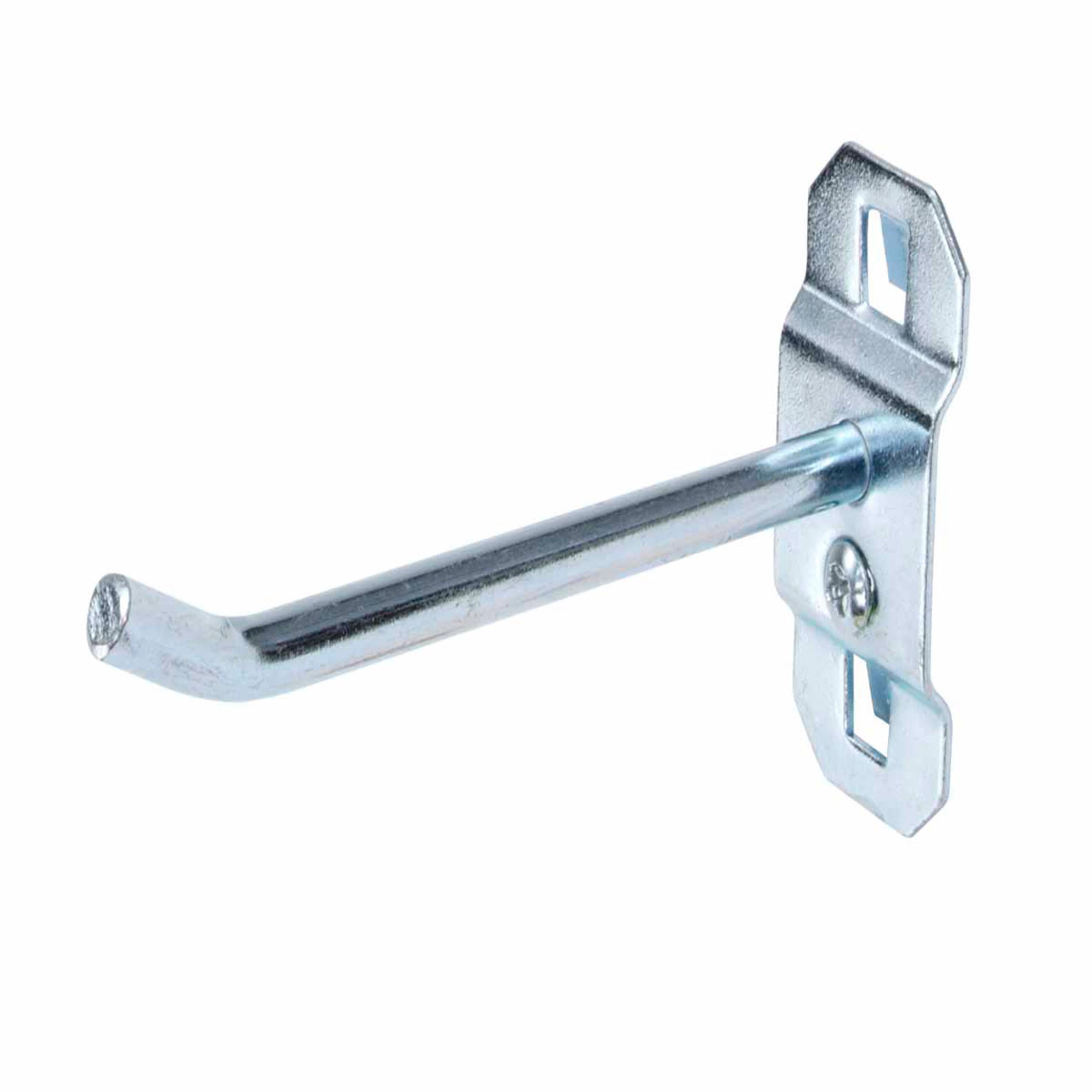 3 In. Single Rod 30 Degree Bend 1/4 In. Dia. Zinc Plated Steel Pegboard Hook for LocBoard, 5 Pack